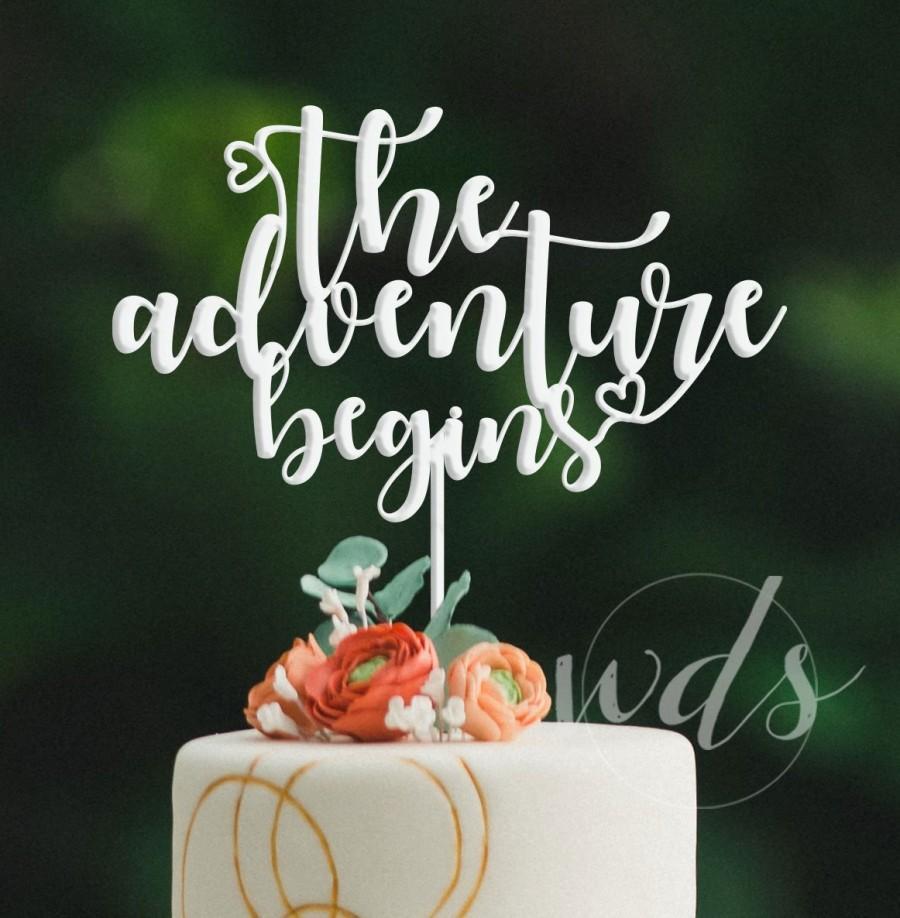 زفاف - the adventure begins Wedding Cake Topper - Gold Cake Wedding Cake Topper - rose gold,  reception sweetheart table - FREE SHIPPING!