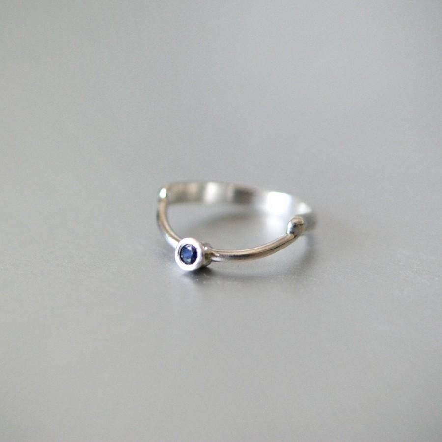 زفاف - Minimalist Tiny Ring, Engagement Ring,Sapphire Engagement Ring, Silver Solitaire Ring, Alternative Engagement Silver Ring,Ring With Sapphire