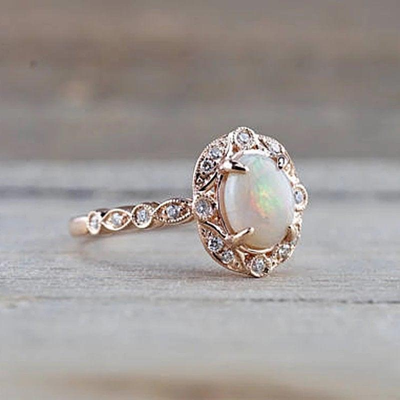Mariage - 14k Australian Opal Engagement Ring Rose Gold Vintage Opal Engagement Ring Opal Promise Ring For Her Opal Wedding Ring For Women Unique Ring