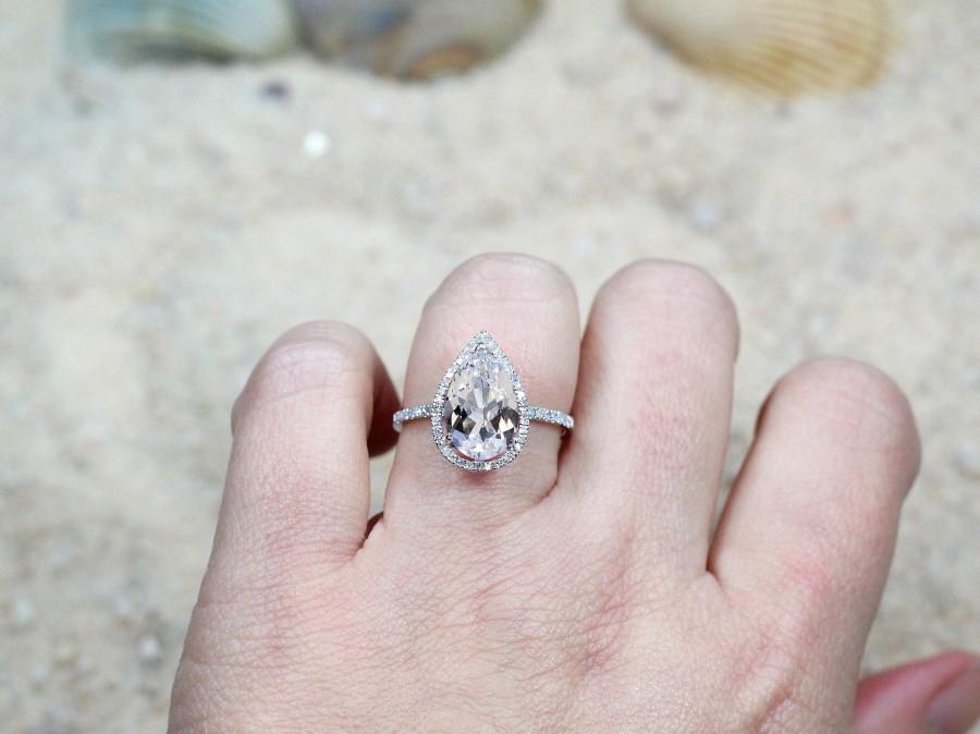 Mariage - White Sapphire Engagement Ring,Diamond Pear Halo,Helena,3.5ct Ring,White Sapphire Ring,White-Yellow-Rose Gold-10k-14k-18k-Platinum