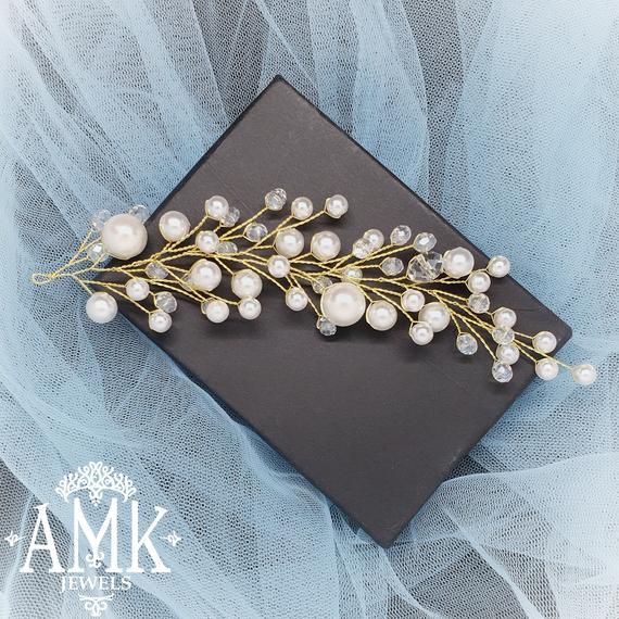 Wedding - Bridal hair vine, wedding hair vine, bohemian hair accessory for bride, wedding hair accessory, bridal hair wreath, wedding hair baby breath