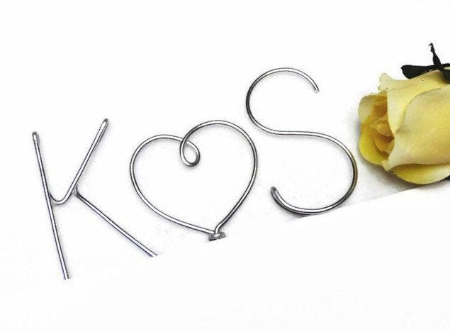 Свадьба - Wire Monogram Initials Wedding Cake Topper Heart Multiple Sizes -Your Choice of Letters- Silver, Gold, Brown, Red, Black, Copper