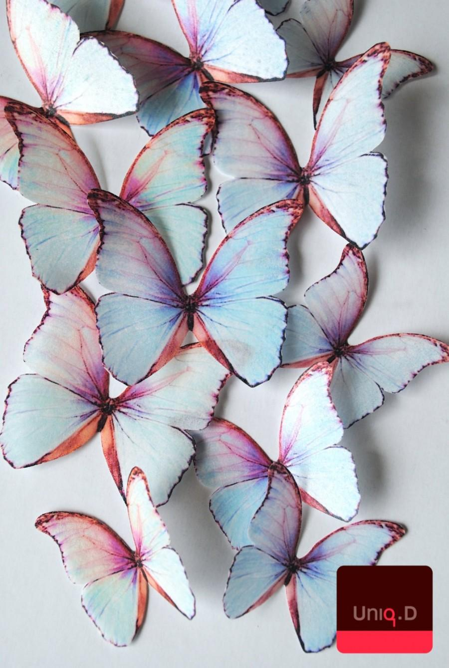 Свадьба - 24 3D edible butterflies - shimmering cupcake toppers -wedding cake topper - 3D decorative butterflies white -iridescent by Uniqdots on Etsy