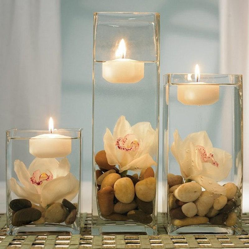 """Mariage - 3"""" Set of 12 White OR Ivory Floating Candle - unscented - 3"""" in Diameter for Centerpieces/ Vases/ Table Decorations"""