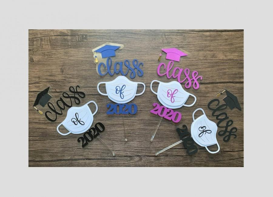 Mariage - Class of 2020 Cake Topper, Quarantine Mask Graduation Cake Topper, Colorful Graduation Cake Topper, Surgical Mask Cake Topper.