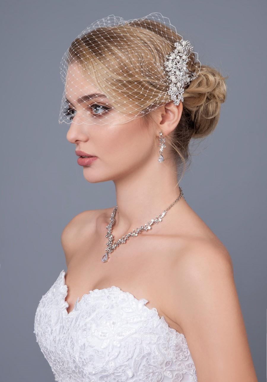 زفاف - Bridal Veil and Bridal Rhinestone Crystal Comb Birdcage Veil, Rhinestone 1920's Hair Comb Bandeau Birdcage Veil, Blusher Bird Cage Veil
