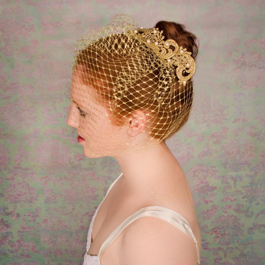 Свадьба - Gold Birdcage Veil, Unique Veil, Gold Bridal Veil, Gold Wedding Veil, Birdcage Veil Pearls, Gold Veil, Beaded Veil, Gold Birdcage- ZARA