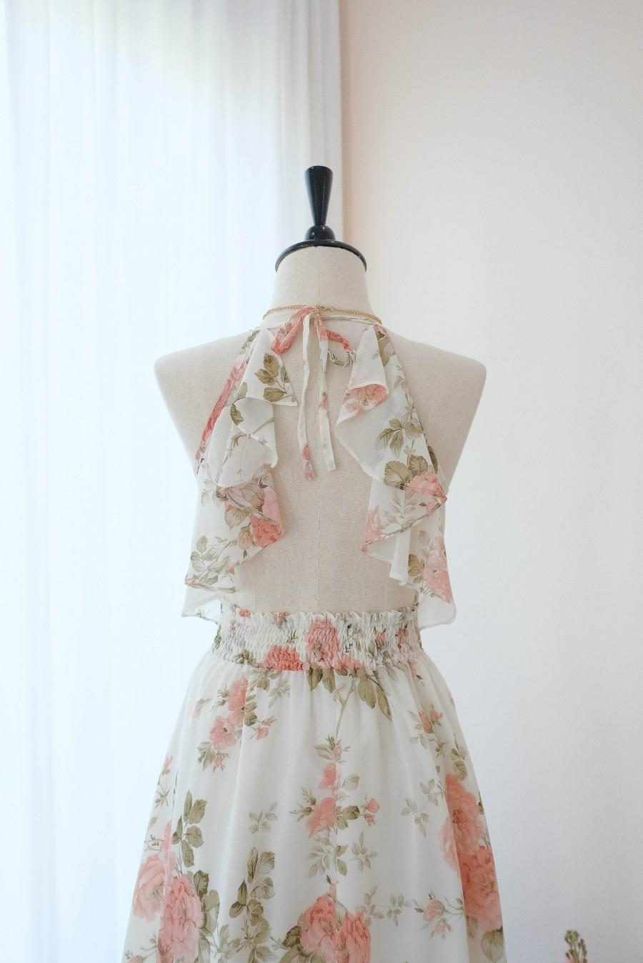 Mariage - Creamy white dress Peach floral Bridesmaid dress Mid Length Cocktail Dress White Party Prom Wedding dress Halter Backless Homecoming dress