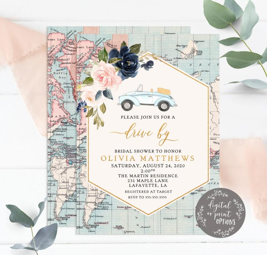 Wedding - Drive By Adventure Awaits Bridal Shower Invitations, Travel Shower Invitations, Wanderlust Bridal Shower Invite, Bridal Shower Parade Invite