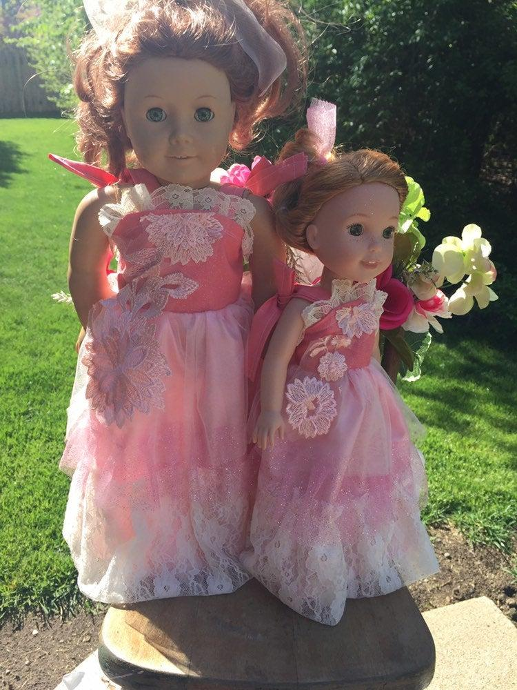 Свадьба - Girl doll matching fancy gown Inspired from American Girls Maryellen Pretty Pink Prom Dress 14in 18in Limited Edition