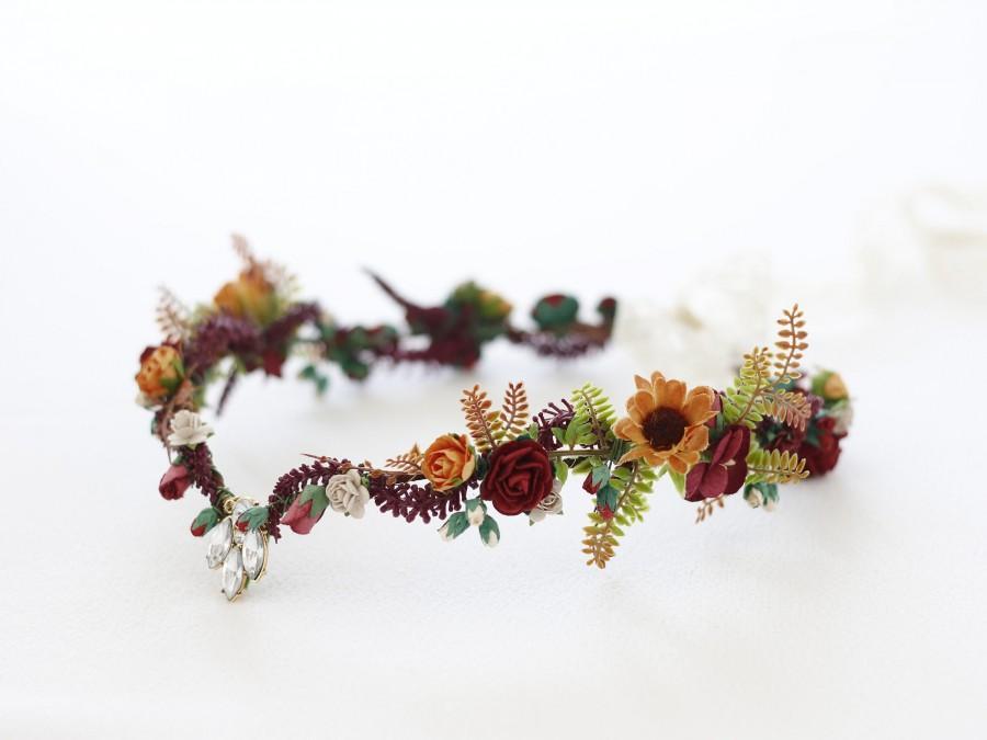 Wedding - Elven tiara, elf leaf crown, fall flower crown, woodland tiara, burgundy orange fairy crown, elf headpiece, elvish tiara, elven diadem