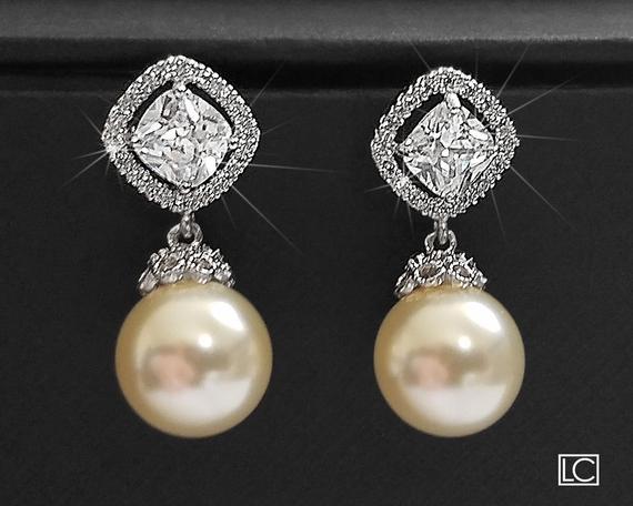 Mariage - Bridal Pearl Earrings Ivory Drop Pearl CZ Wedding Earrings Swarovski 10mm Pearl Earrings Wedding Pearl Jewelry Bridal Jewelry Pearl Earring