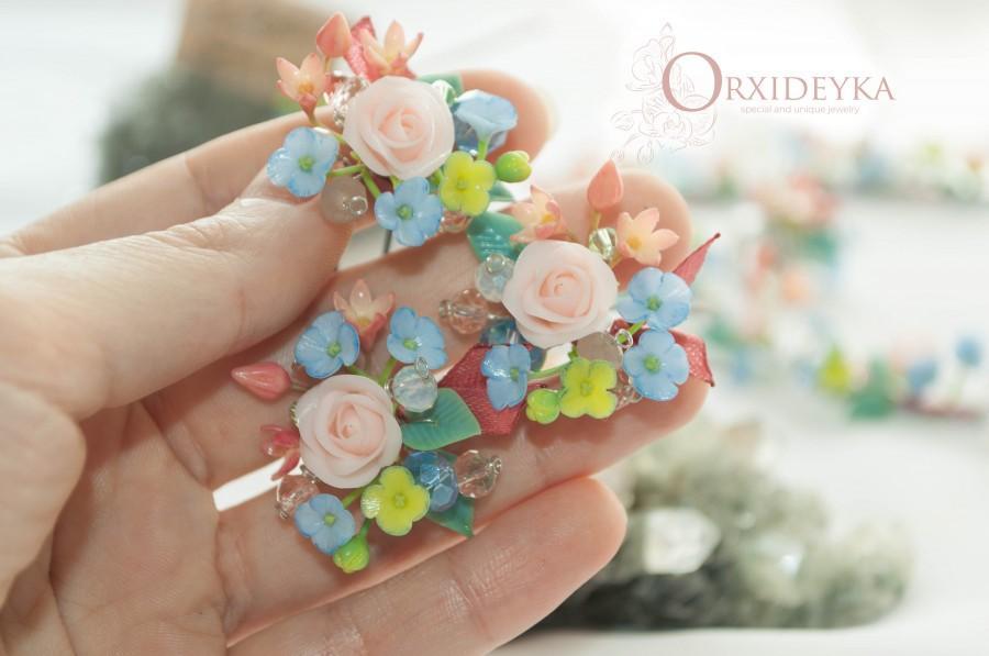 Mariage - Flower hair pin Hydrangea Rose hair pins Pink polymer flower hair pins Hair accessories Wedding hair pins Bridal hair pins Bridal hairpiece
