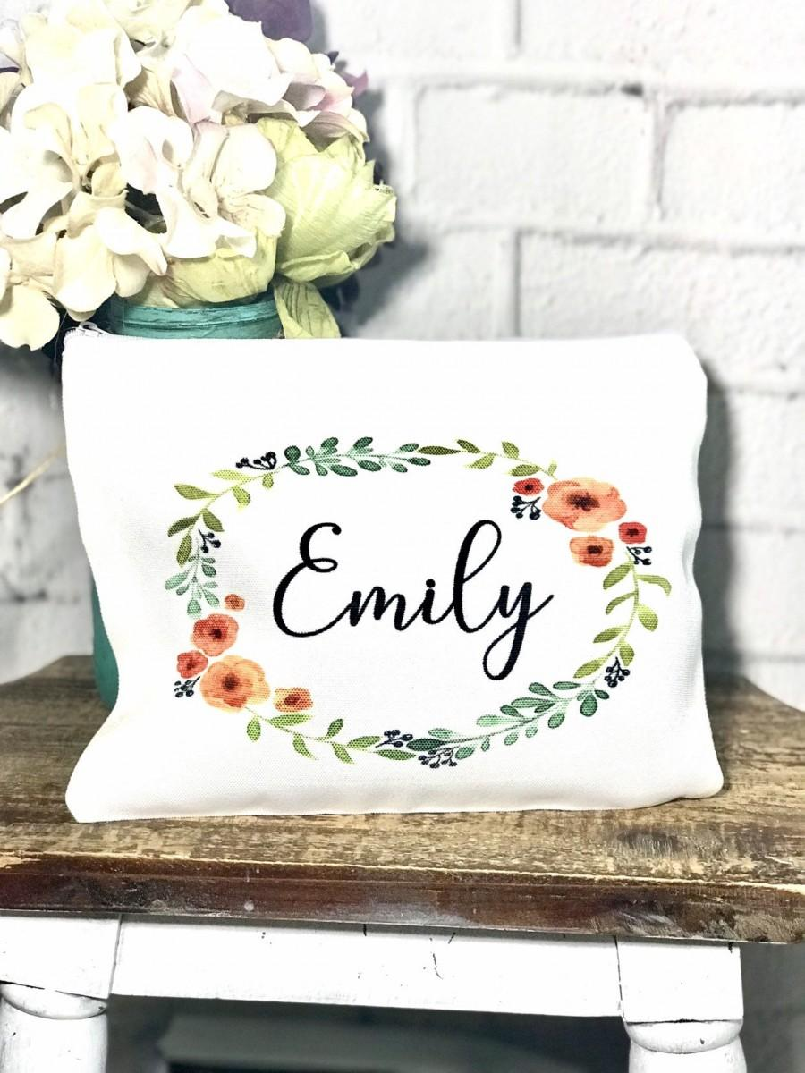 Mariage - personalized floral bridesmaid makeup bag, custom floral cosmetic bag, bridal party gift, set of makeup bags for bridesmaids, makeup bag set