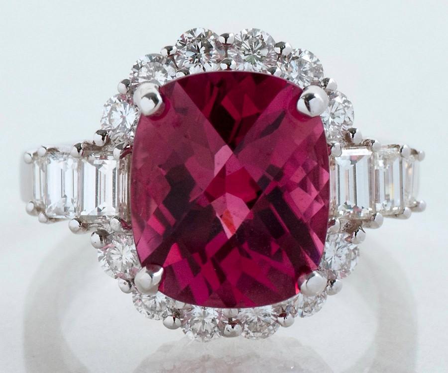 زفاف - Tourmaline Ring - Handmade Gem Quality 18k White Gold, Pink Tourmaline, and Diamond Ring