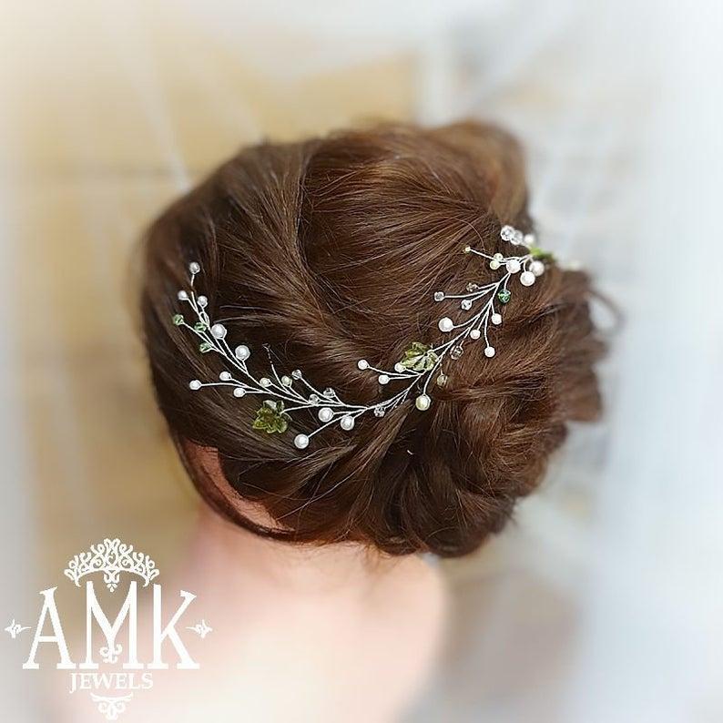 Wedding - Green hair accessory, bridal hair vine, green leaves for hair, rustic hair wreath, green hair piece, hairpiece bride, woodland headpiece