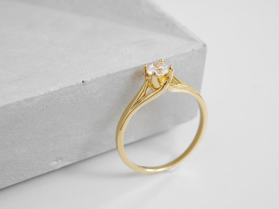 Wedding - Promise Ring For Her, Solitaire Engagement Ring, Solitaire Ring, Dainty Gold Ring, Delicate Ring, Anniversary Gift, Gift for Her, Solid