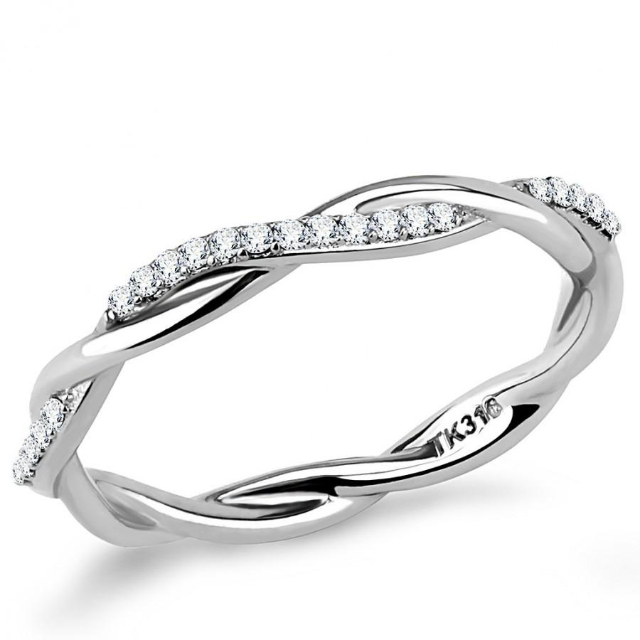 Wedding - Stainless Steel Ring High polished (no plating) Women AAA Grade CZ Clear