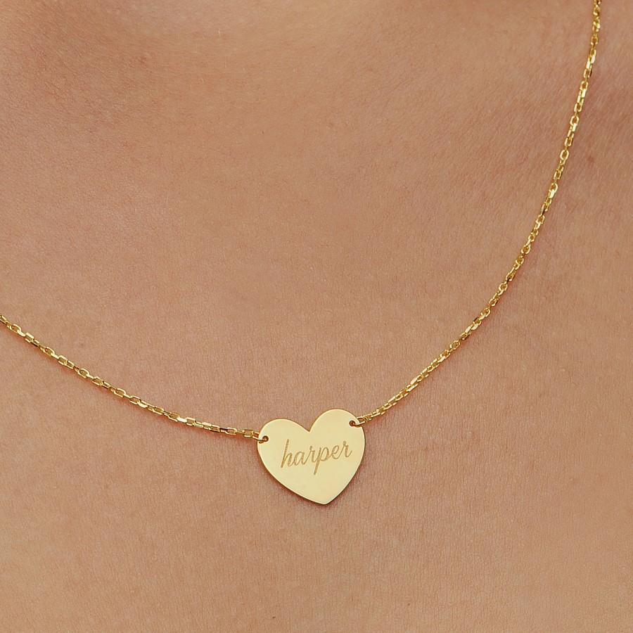 Wedding - 14K Solid Gold Heart Necklace/ Heart Name Necklace/ Love Necklace/ Minimalist Heart Necklace/ Dainty Heart Necklace/ Lover Gift