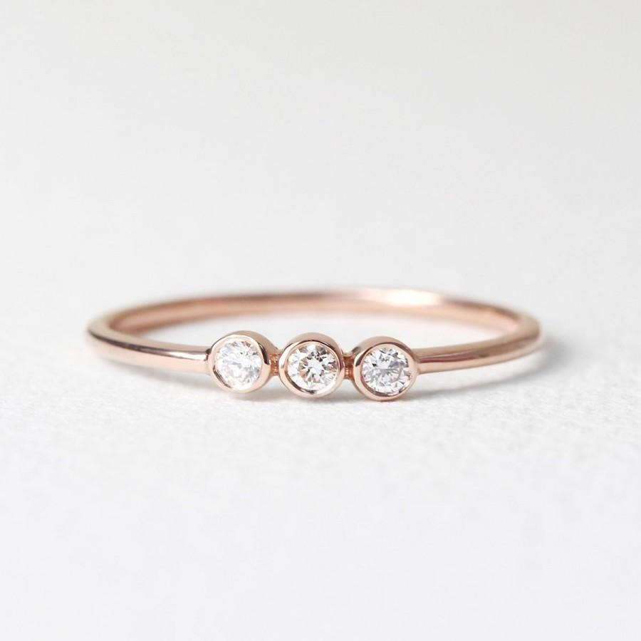 Mariage - Diamond Ring / Wedding Ring / Triple Diamond Ring / Three Diamonds Ring / Diamond Wedding Band / Minimalist Ring / Dainty Gifts For Her