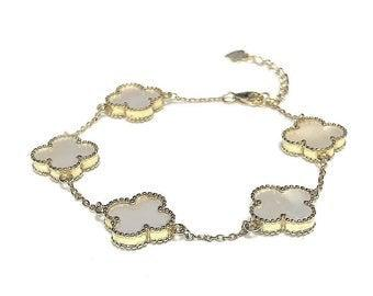 """Mariage - Clover Bracelet 14KT Gold Plated Stering Silver, 5 - 1/2""""  Mother of Pearl Stations 7""""-8"""""""