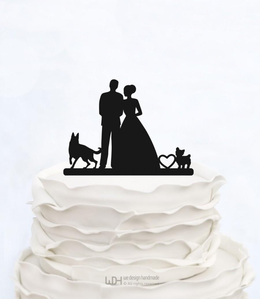 Mariage - Bride And Groom Cake Topper With two Dogs_Wedding Cake Topper_Couple Silhouette__Custom Cake Topper_heart Cake Topper_rustic cake topper