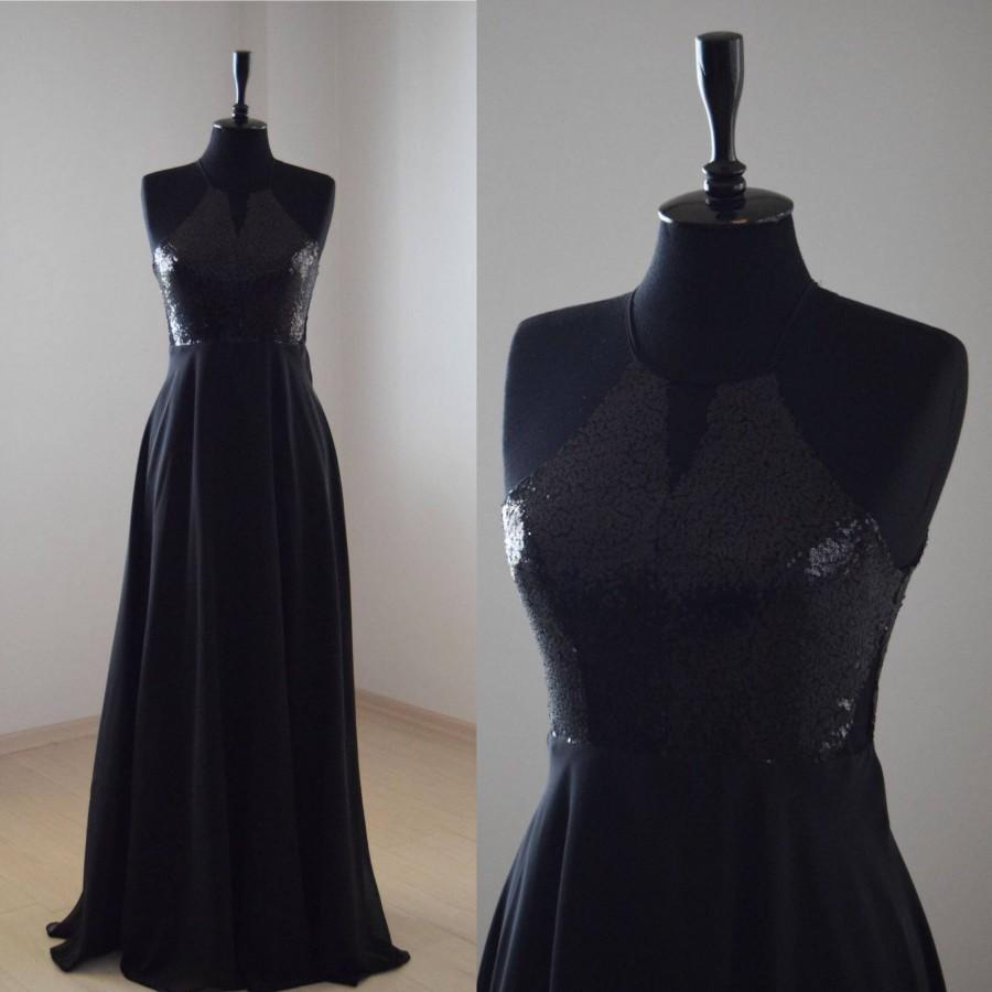 Mariage - Handmade Charming Chiffon With Top Sequin Bridesmaid Dress, Black, Sleeveless Full Length Sequin Evening Prom Dress, Wedding Party
