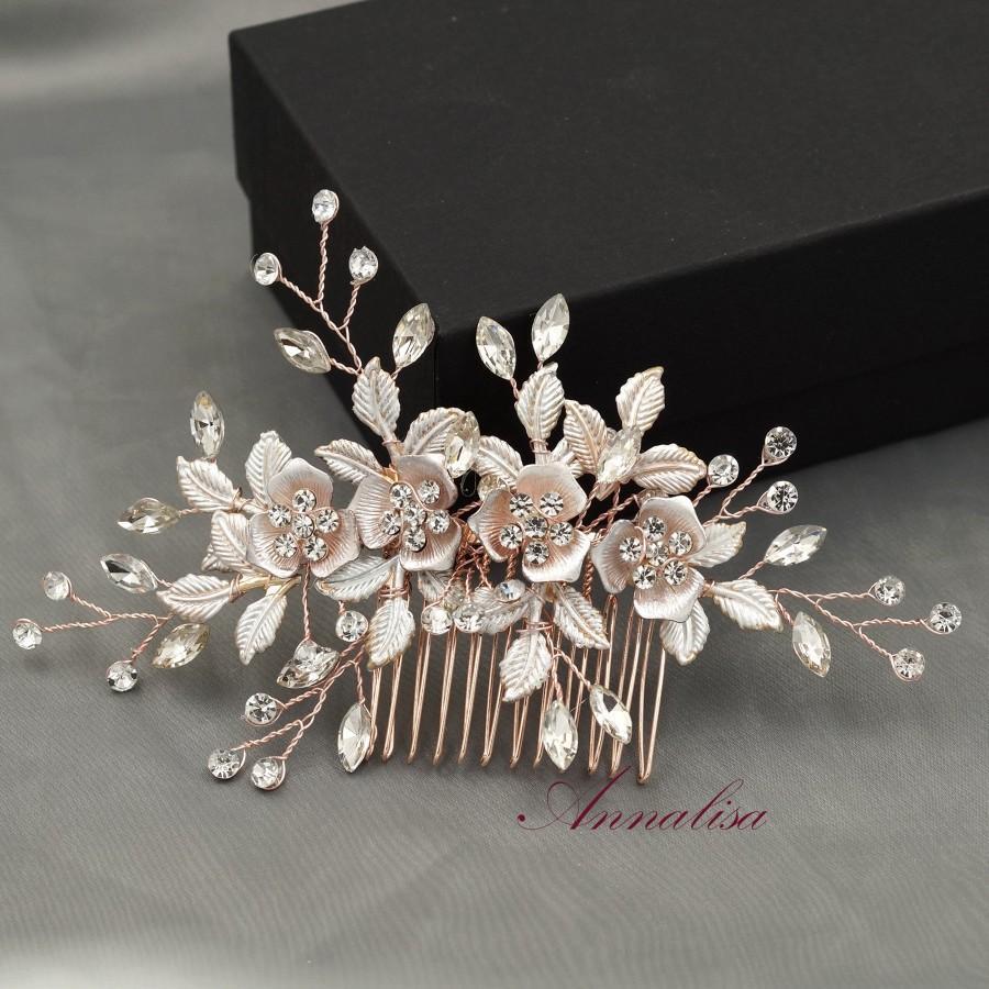 Mariage - Bridal Hair Comb Floral, Crystal Hair Comb, Rhinestone Hair Comb, Crystal Hair Clip, Wedding Hair Comb Rose gold, Wedding Headpiece 04102