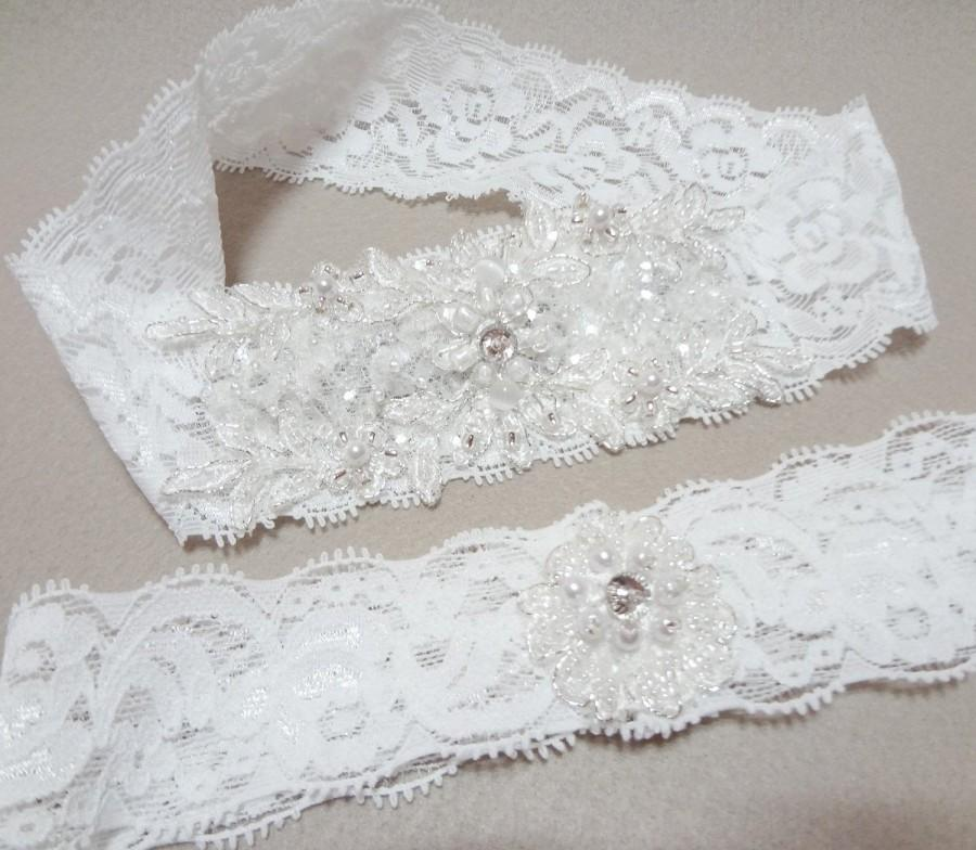 Свадьба - Wedding Garter Set, White Lace Garter Set, White Garter, Lace Garter