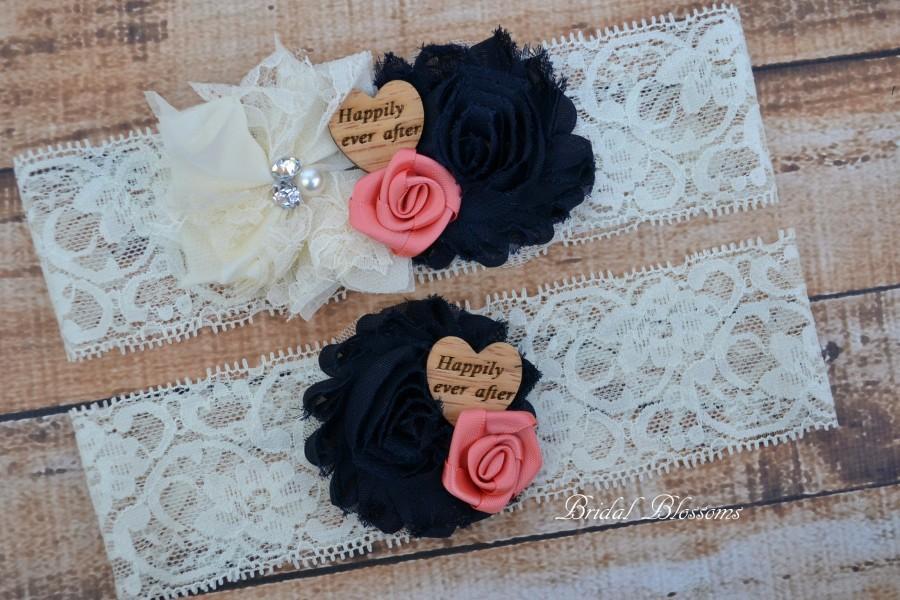 Hochzeit - Ivory Navy Blue Coral Bridal Garter Set
