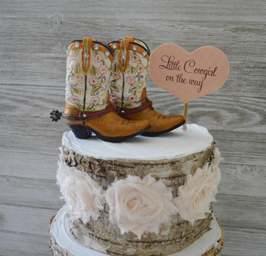 Mariage - Girls cowboy cowgirl boot cake topper birthday baby shower gender reveal party western themed pink bridal shower bride to be boot topper