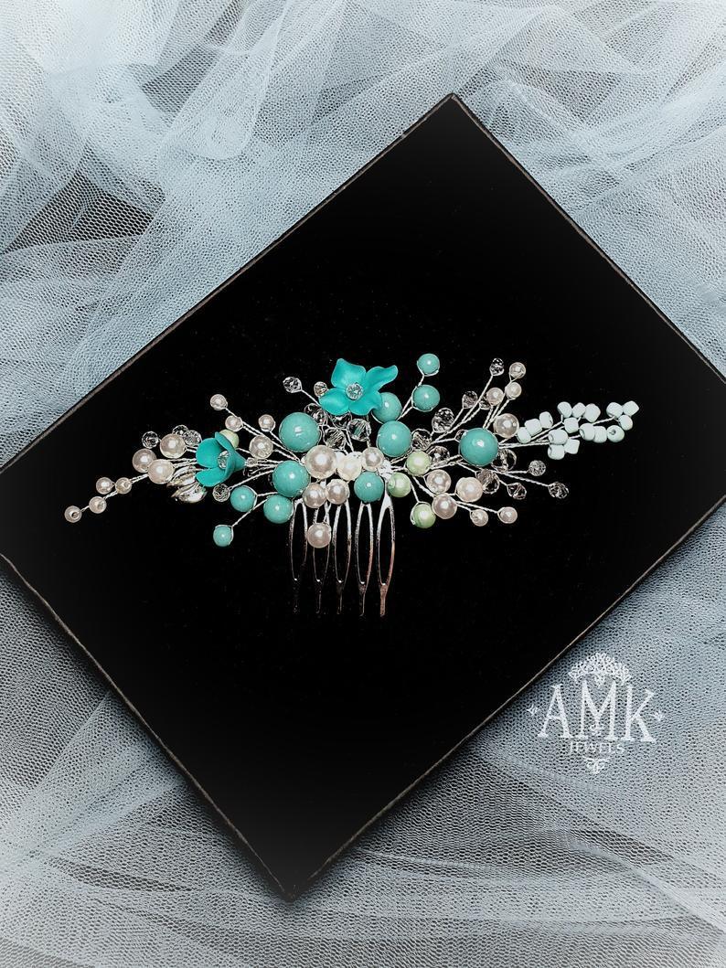 Wedding - Tiffany floral hair comb for bridesmaid