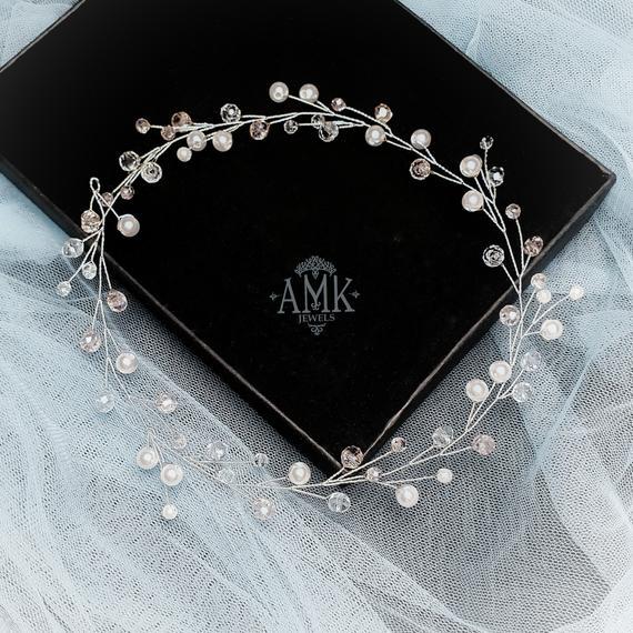 Wedding - Pearl hair vine, pink crystal hair piece