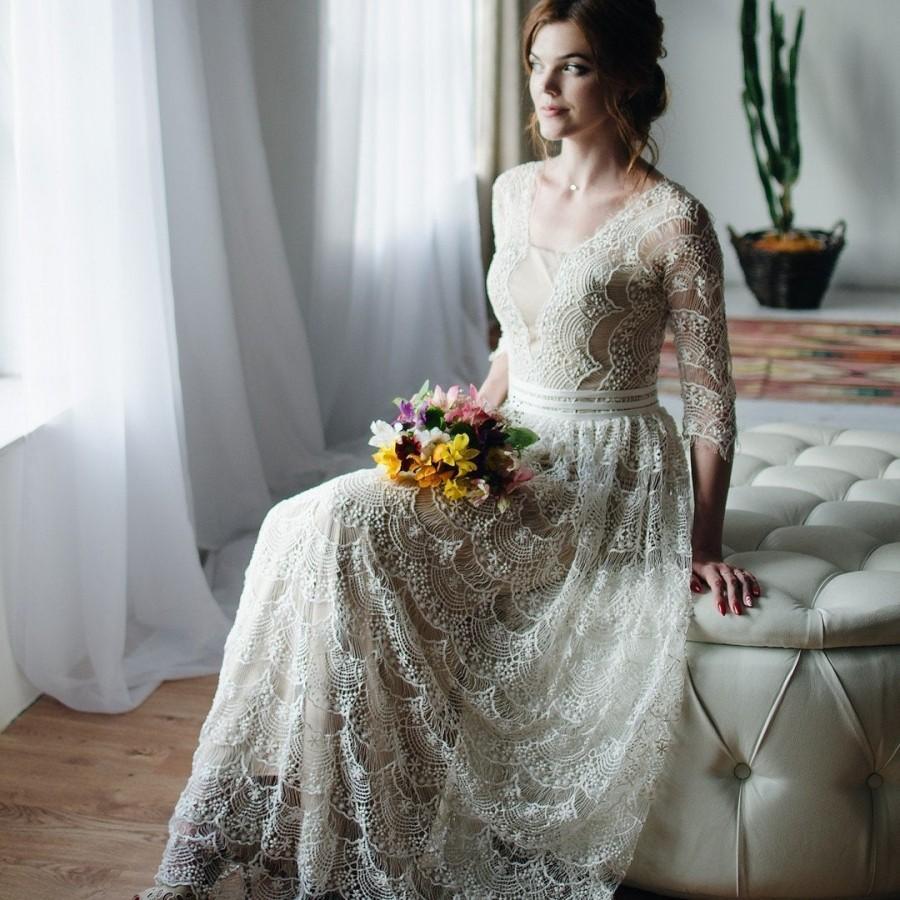 Vintage Wedding Dress Lace Wedding Dress With Long Lace Sleeves 3 4 Sleeves Boho Wedding Dress 2967252 Weddbook