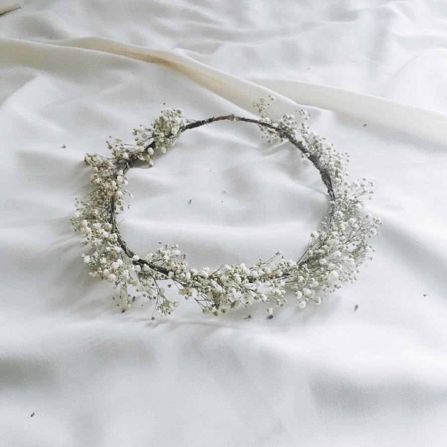 Mariage - Baby's Breath flower crown, Baby's Breath Real Dried Flower Crown, Wedding Crown, Rustic Wreath,dried Gypsophila boho crown,