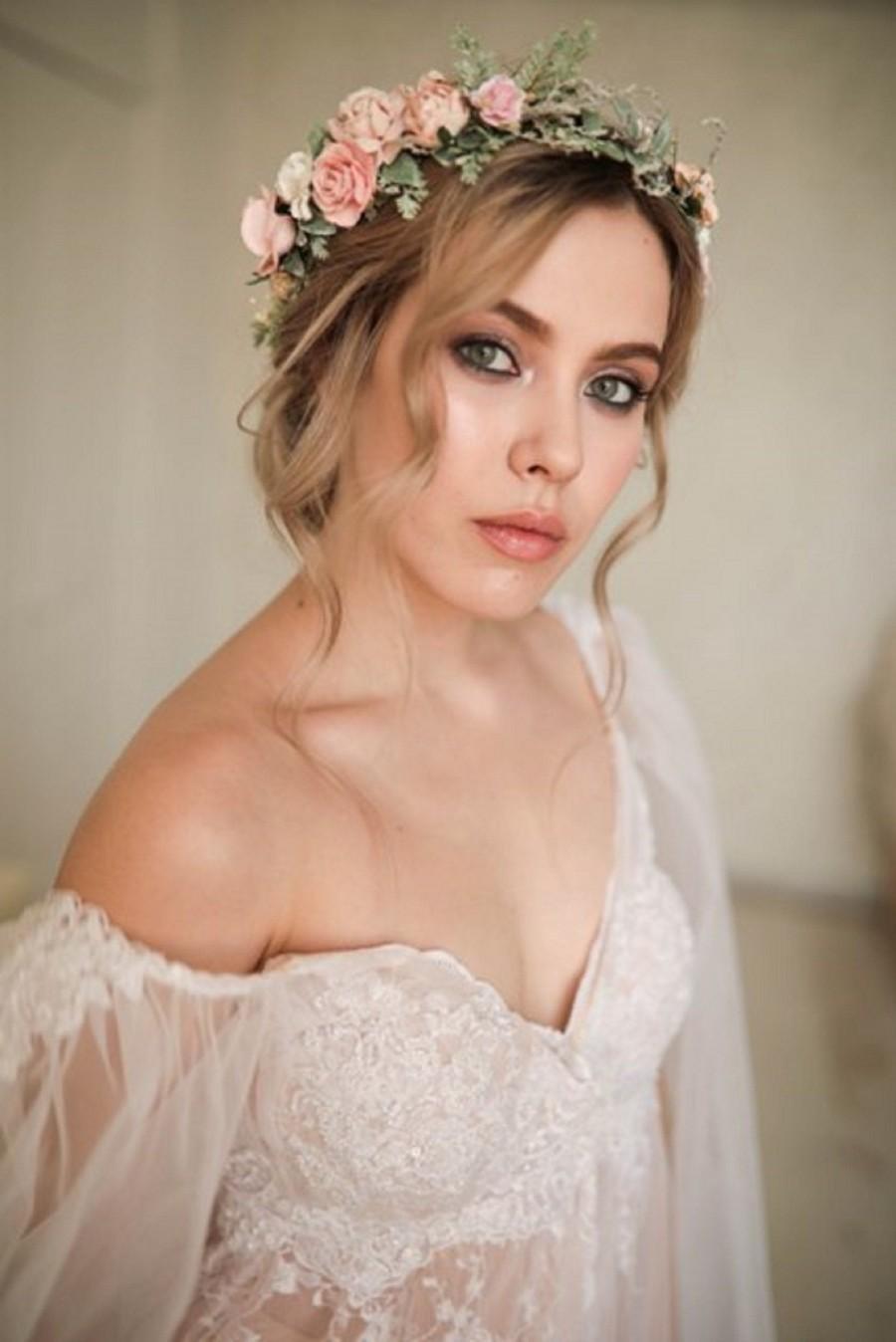 زفاف - Blush flower crown Wedding flower crown Blush floral crown Bridal flower hair piece Blush Wedding crown Bridesmaid crown Flower girl crown