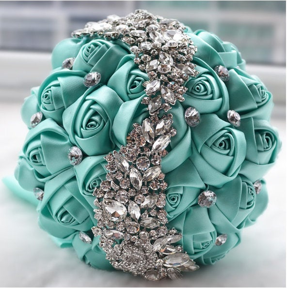 Mariage - Silver Brooch Bouquet - Bride Wedding Bouquets Bridesmaids Satin Rose Flower with Sparkle Rhinestone Crystal Decoration