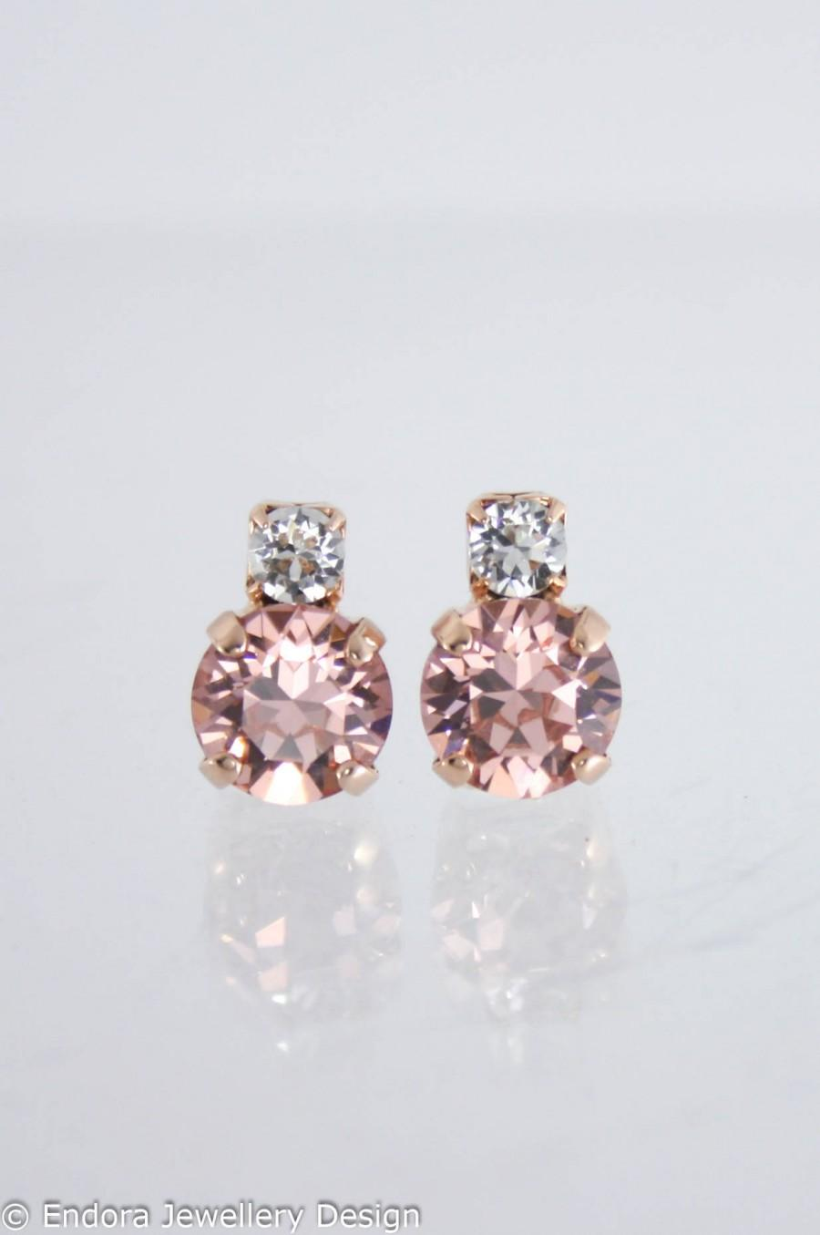 Mariage - Blush earrings,blush bridesmaid earrings,petite blush earrings,Swarovski,Swarovski blush earrings,blush wedding jewelry,blush rose gold,stud