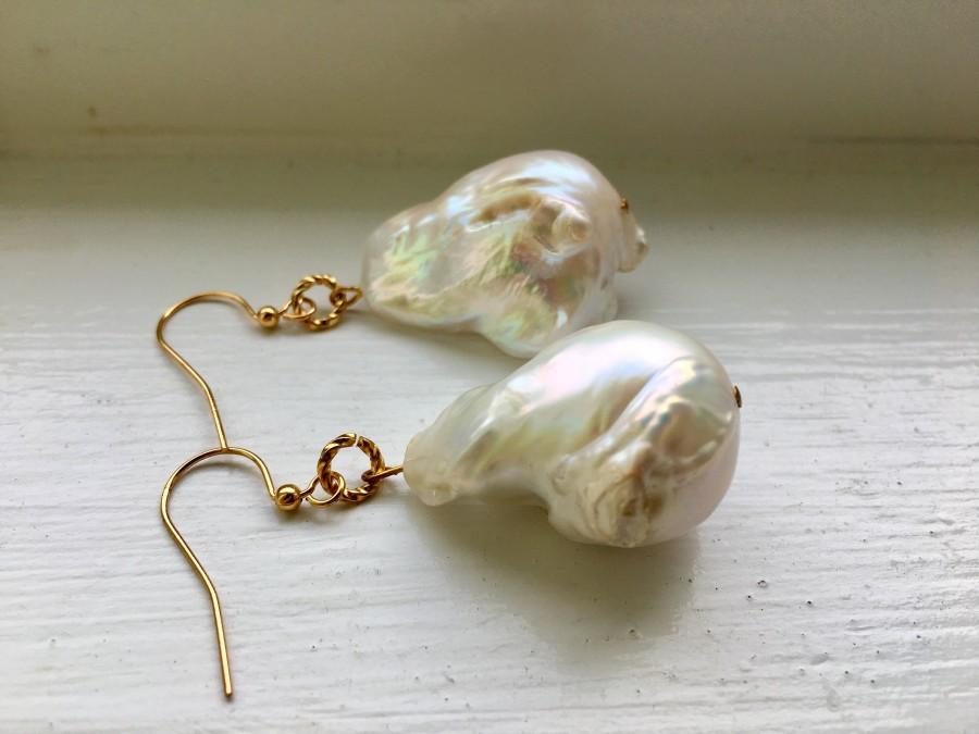 Mariage - Large Baroque Pearl Earrings / Gold Plated/ Handmade in Canada / Bridal Earrings