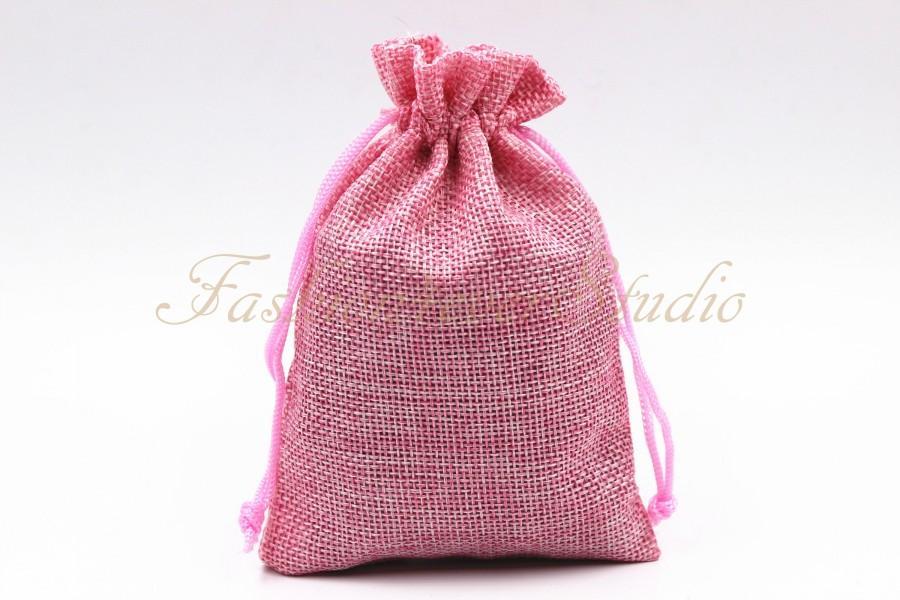 """Wedding - 10pcs Pink Burlap Bags 4x5.25""""/5x7"""", Jewelry Bags, Gift Bags, Burlap Favor Bags, Jute Bags, Party Favor Bags, Wedding Gift Bags"""