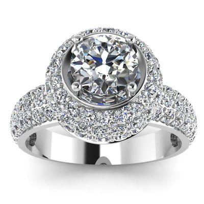Wedding - 1.50 ct Moissanite halo Ring 925 Sterling Silver
