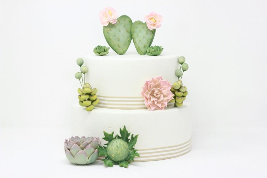 Свадьба - Fondant Succulent Garden Cake Toppers - CUSTOM SET - Edible Sugar Succulent Boho Wedding Cake Decoration - Fondant Cactus Rustic Cake Topper