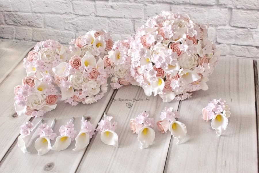 Свадьба - Cherry blossom wedding set Keepsake Blush roses white Calla lilly Bridal Bouquet Blush Pink bouquet clay flowers bouquet