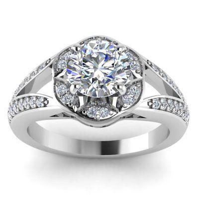 Wedding - 1.64 ct Round cut White moissanite 925 silver halo split shank wedding ring - Buy Best Quality Moissanite in India