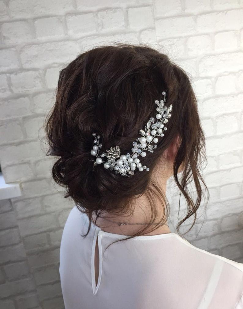 Свадьба - Bridal hair piece, wedding hair piece, pearl hair vine, wedding hair vine, hair vine silver, leaf hair clip, bridal hairpiece, hair pieces