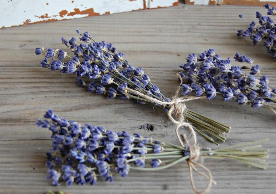 Mariage - 50  each Dried Lavender Bunches / Petite Bundles  / Sprigs / Mini Lavender Bouquets  / Wedding Decor /Shower Decor