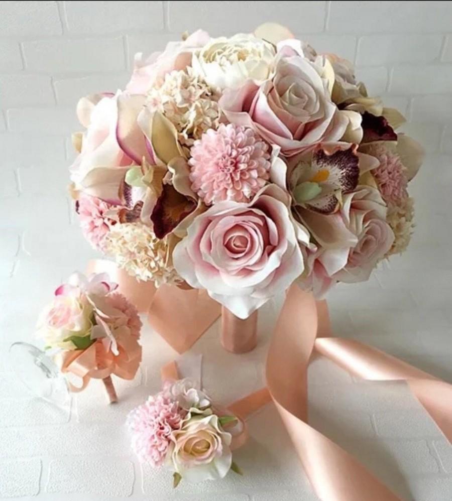 Mariage - Handmade Natural Wedding real to touch Bridal Bridesmaid Bouquet, wrist corsage wedding, Alternative Bouquet, wedding boutonnière
