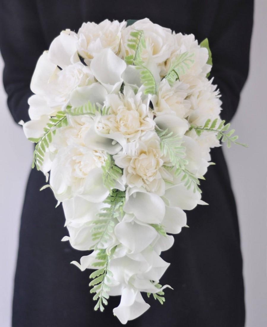 زفاف - Cascade Cream White Mint Calla Lily Wedding Bouquets Romantic Elegant wedding bouquet