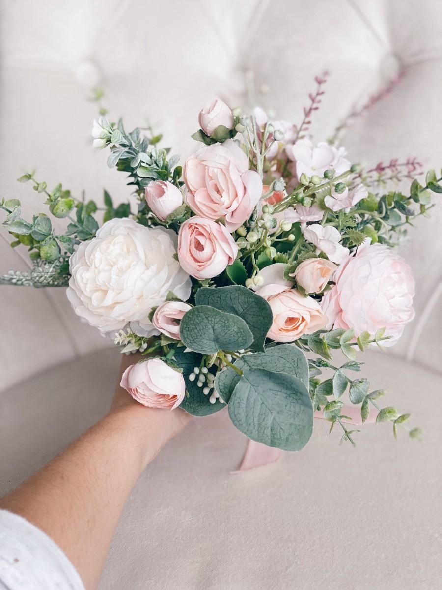 Hochzeit - Wedding bouquet, Bridesmaids Bouquet, Blush Pink Bridesmaids bouquet, Wedding flowers, Silk Wedding flowers