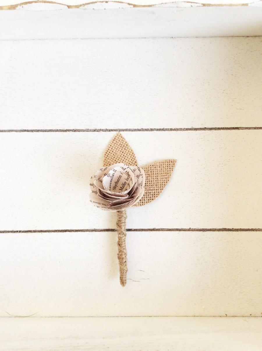 Hochzeit - Book Page Boutonniere, Rustic Boutonniere, Paper Boutineer, Paper Rose, Eco Wedding-Customizable (Item: TPG71B)